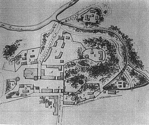 """Pjetro de Rosio XVIII a. pabaigos pilių teritorijos planas su """"A"""" žyma"""
